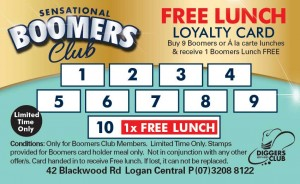 Boomers Club Loyalty Card at Diggers Services Club