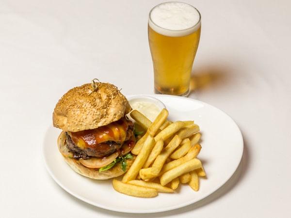 Burger at the Bravo Cafe