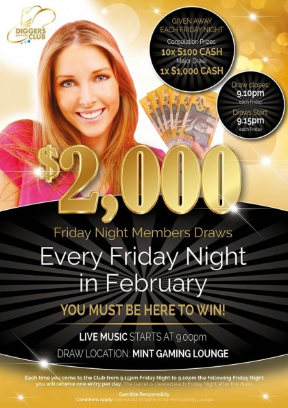 Members Draw - $2,000 Every Friday in February