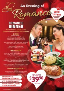 Valentines Dinner at Diggers Services Club