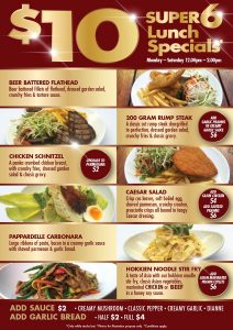 $10 super 6 lunch specials