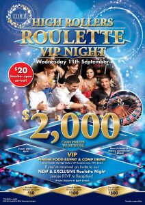 High Rollers Roulette VIP Night at Diggers Services Club