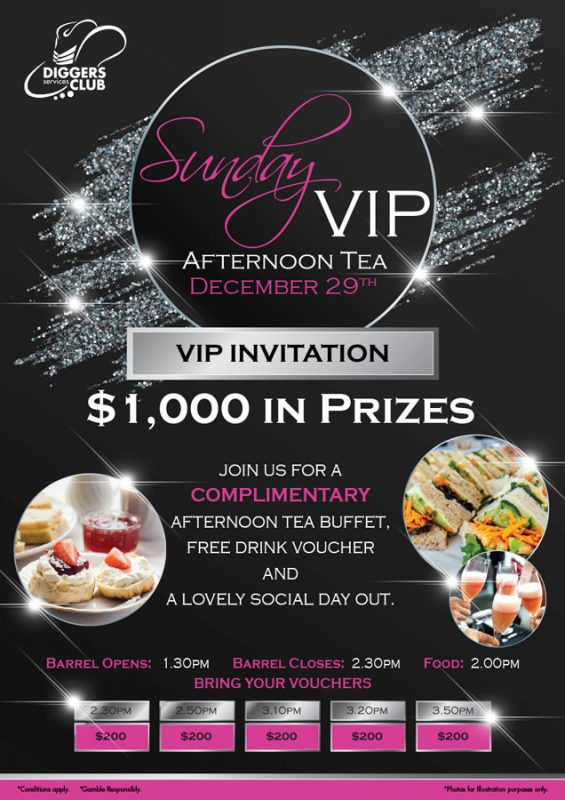 $1,000 in prizes Sunday VIP Afternoon Tea December